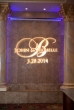 Custom monogram gobo on the waterfall